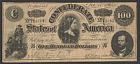 "T-65, 1864 $100 Confederate States ""Lucy Pickens"" Note, 93791"
