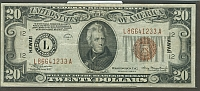 Fr.2305, 1934A $20 Hawaii Federal Reserve Note,  VF/XF
