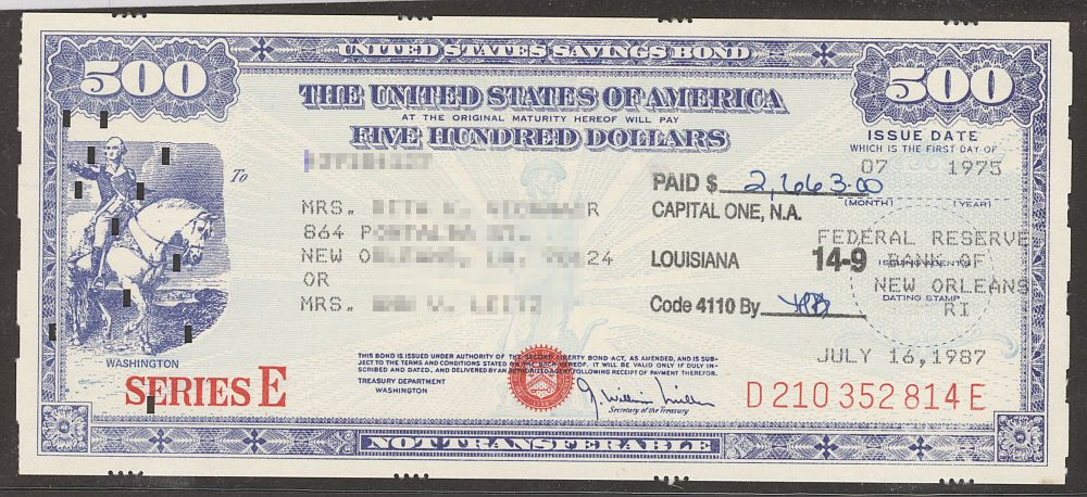 United States Savings Bond, Series E, 07/1975 $500 Washington Mounted, Reissued ReplacementValley Forge