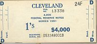 BEP $4,000 Brick Packaging Label, 1981 Cleveland $1 FRNs, D-B Block