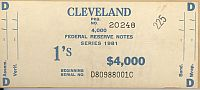 BEP $4,000 Brick Packaging Label, 1981 Cleveland $1 FRNs, D-C Block