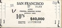 Fr.2025-L, BEP $40,000 Brick Packaging Label, 1981 San Fracisco $10 FRNs, L-B Block