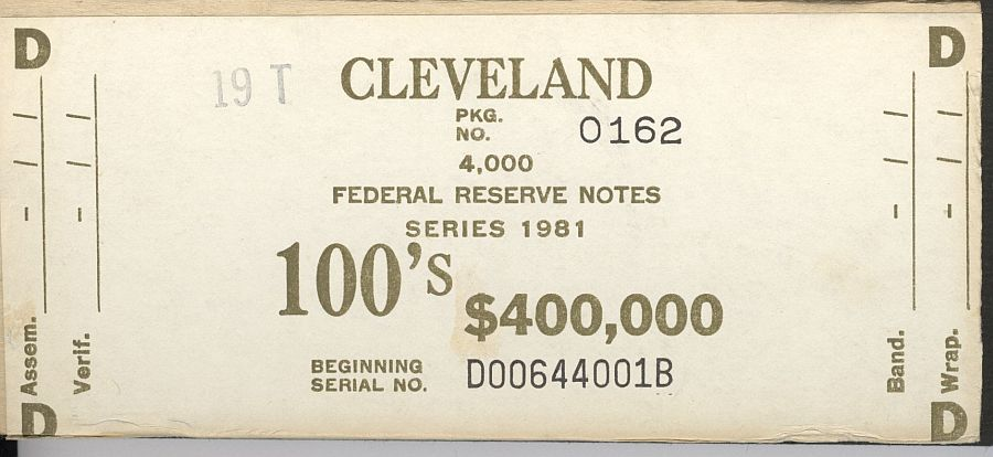 BEP $400,000 Brick Packaging Label, 1981 Cleveland $100 FRNs, D-B Block