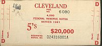 BEP $20,000 Brick Packaging Label, 1981 Cleveland $5 FRNs, D-A Block