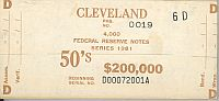 BEP $200,000 Brick Packaging Label, 1981 Cleveland $50 FRNs, D-A Block