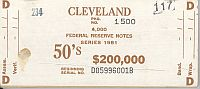Fr.2120-D, BEP $200,000 Brick Packaging Label, 1981 Cleveland $50 FRNs, D-B Block