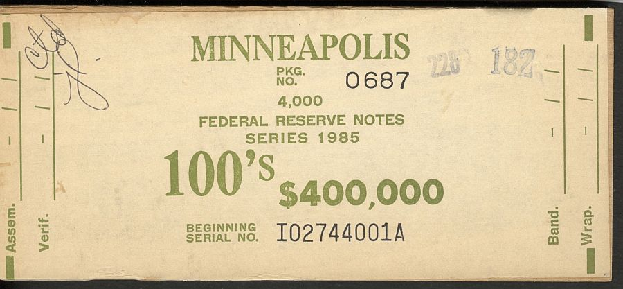 BEP $400,000 Brick Packaging Label, 1985 Minneapolis $100 FRNs, I-A Block