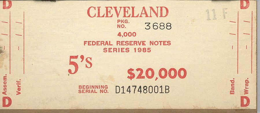 BEP $20,000 Brick Packaging Label, 1985 Cleveland $5 FRNs, D-B Block