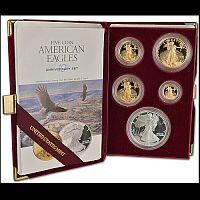 1995-W PCGS 10TH ANNIVERSARY AMERICAN EAGLE GEM PROOF SET INCLUDING RARE SILVER EAGLE