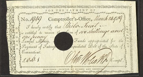 1789 Connecticut 6s, 1p Interest Note VF/XF