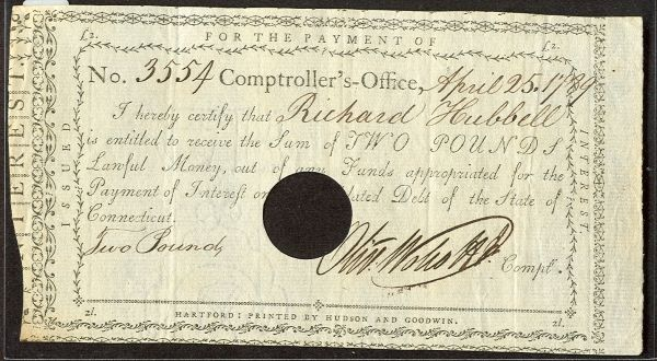 1789 Connecticut 2p Interest Note VF/XF