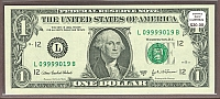 "2003A $1 FRN ""Poker Note"", Five Nines Serial Number"