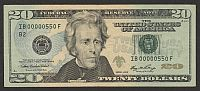 2006 $20 New York FRN, Low Number IB000000550F, VF/XF
