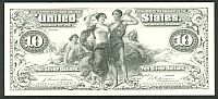 1897 $10 Agricultural Silver Certificate (Unissued) BEP Card Proof