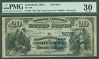 Ashtabula, Ohio, 1882 Value Back $20, Charter 5075, Fr.580, VF, PMG-30