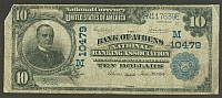 Athens, Ohio, 1902PB $10, Charter #10479, The Bank of Athens NB