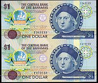 Bahamas, P-50, 1992 $1 Columbus Quincentennial Commemorative Uncut Pair, Gem CU