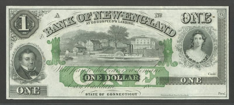Connecticut, Bank of New England at Goodspeed's Landing $1, GEM