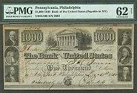 Bank of the United States $1000, Dec. 15, 1840, Philadelphia Issue, NY Redemption, 8804, AU - PMG-62n