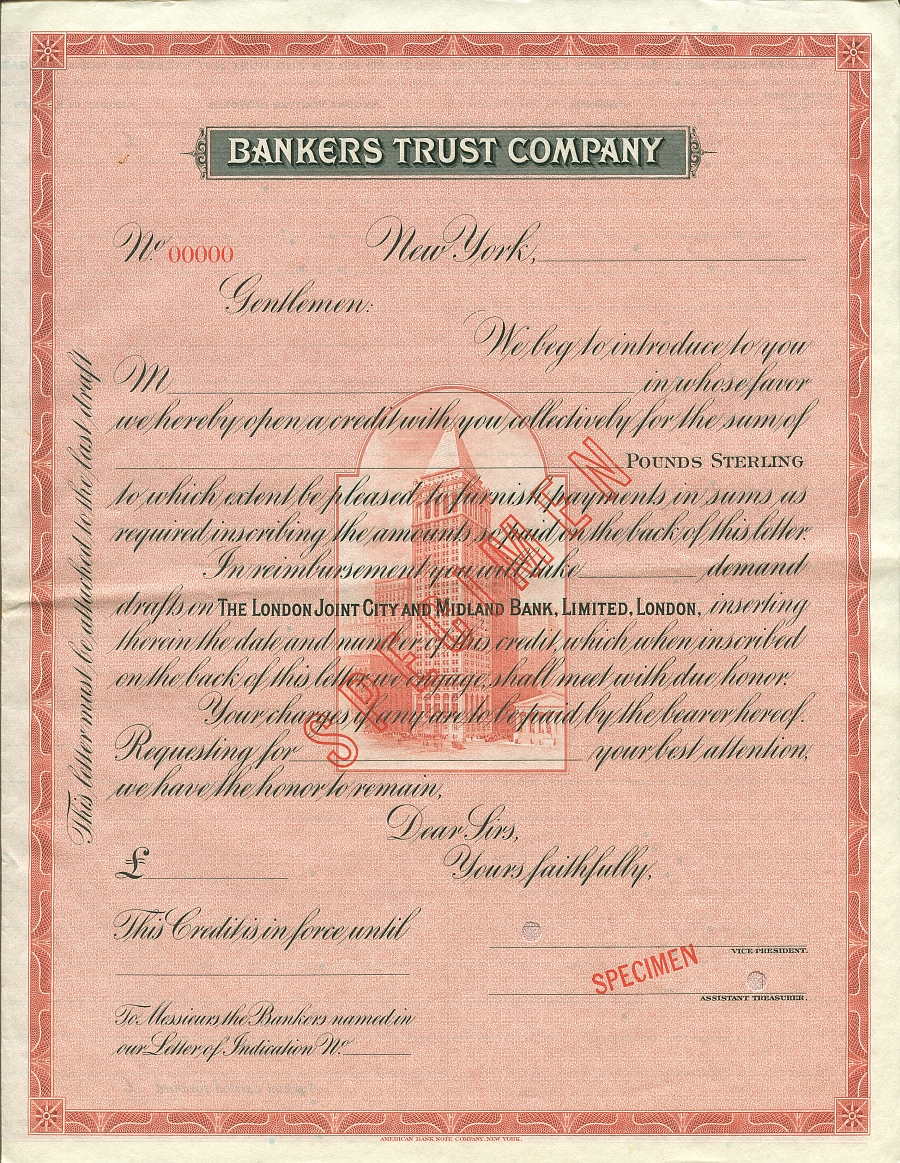 Bankers Trust Co Letter of Credit Specimen - British Pounds