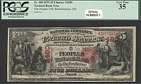 Bellefontaine, Ohio, SERIAL NO. 1, Charter #2480, 1875 $5