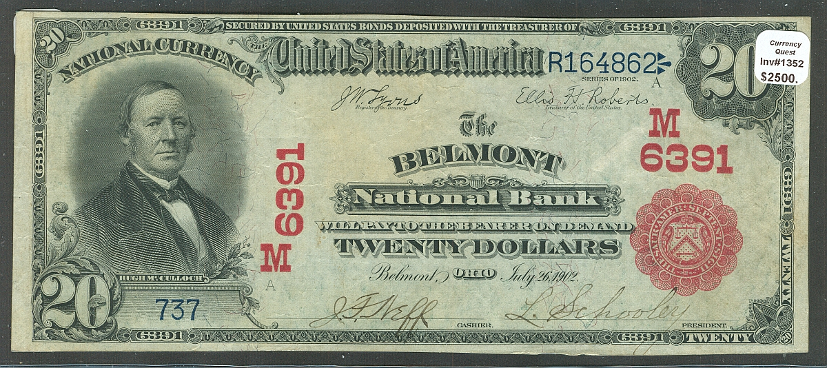 Belmont, Ohio, Ch.#6391, Belmont National Bank, 1902 Red Seal $20, Ch.VF, PMG-35