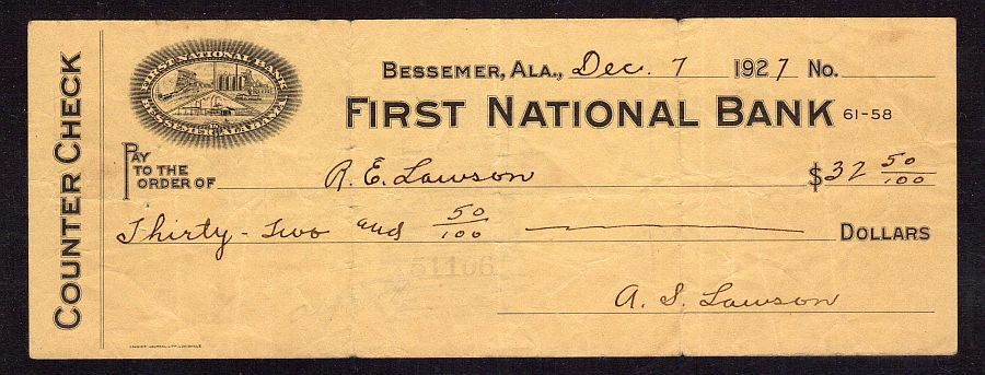 Bessemer, AL, First National Bank (Charter #4220) Counter Check (Forgery) 12/07/1927, $32.50
