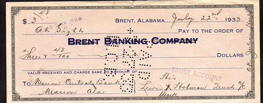 Brent, Alabama, Brent Banking Company 07/22/1933 $3.48