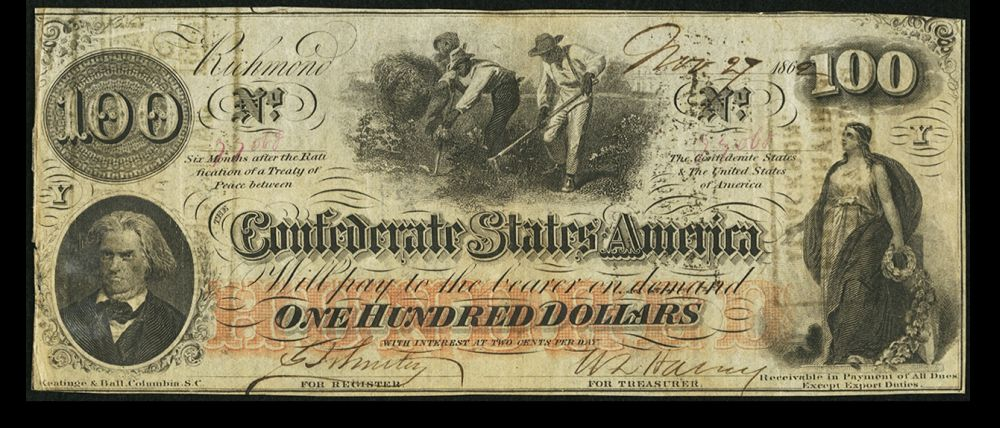 "T-41, 1862 $100 CSA ""Hoer"" Note, November 27, 1862, VF/XF"