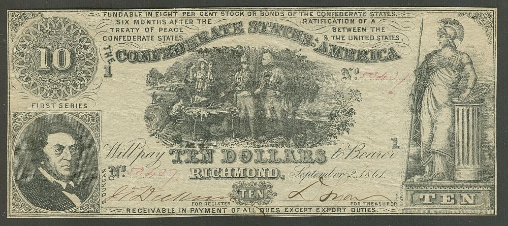T-30, PF-1, CR-238, First Series 1861 $10 Confederate States of America Note, 53437, ChCU