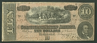CSA, 1864 $10 Confederate Note, VF