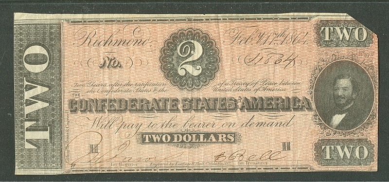 T70-566, 1864 $2 Confederate Note