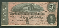 CSA, 1864 $5 Confederate Note