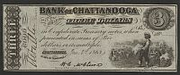 Chattanooga, TN, 1863 $3 Bank of Chattanooga, Ch/GemCU