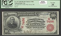 Cleves, OH, 1902RS $10, Charter 7456, Fr.613, Serial #1, Ch.VF, PCGS-35