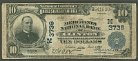 Clinton, Iowa, Charter #3736, 1902PB $10, Merchants NB, Fine