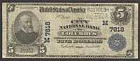 Columbus, OH, 1902PB $5, Charter #7818, City National Bank