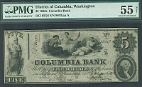 Washington, DC, The Columbia Bank $5, 10/20/1852, ChAU, 8803, PMG-55n