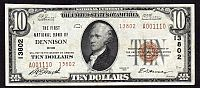 Dennison. Ohio, 1929T2 $10, Ch.#13802, First National Bank, Ch.XF