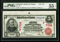 Fairbanks, District of Alaska, The First National Bank, 1902RS $5, SN:1064, PMG55-EPQ