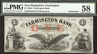 Farmington, NH, Farmington Bank $1, 1860s Remainder, vChCU, PMG-58