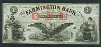 Farmington, NH, Farmington Bank $1, 1860s Remainder, GemCU