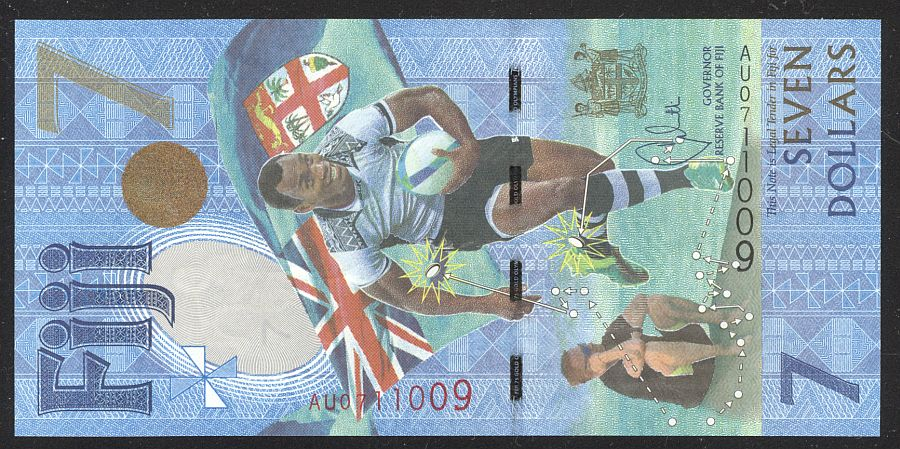 "Fiji, 2016 $7 Polymer ""Rugby"" Note, Rugby 7s Gold Olympians Commemorative Note, GemCU"