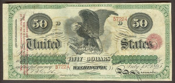 Fr.0212d, 1865 $50 Interest Bearing Note, VF     Sold