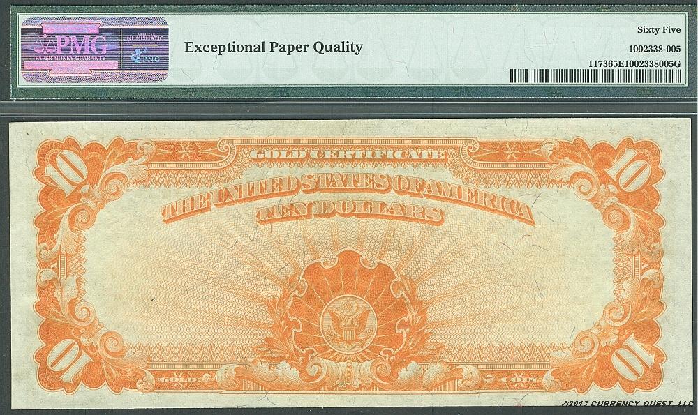 fr 1173 1922 10 gold certificate gemcu pmg65 epq h78637326