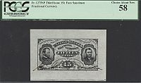 Fr.1275 SP, 1863 15 Cent Grant-Sherman Wide-Margin Face, Hand-Signed Specimen Note, vChAU, PCGS-58
