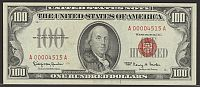 Fr.1550, 1966 $100 Legal Tender Note, Low Serial Number A00004515A, VF
