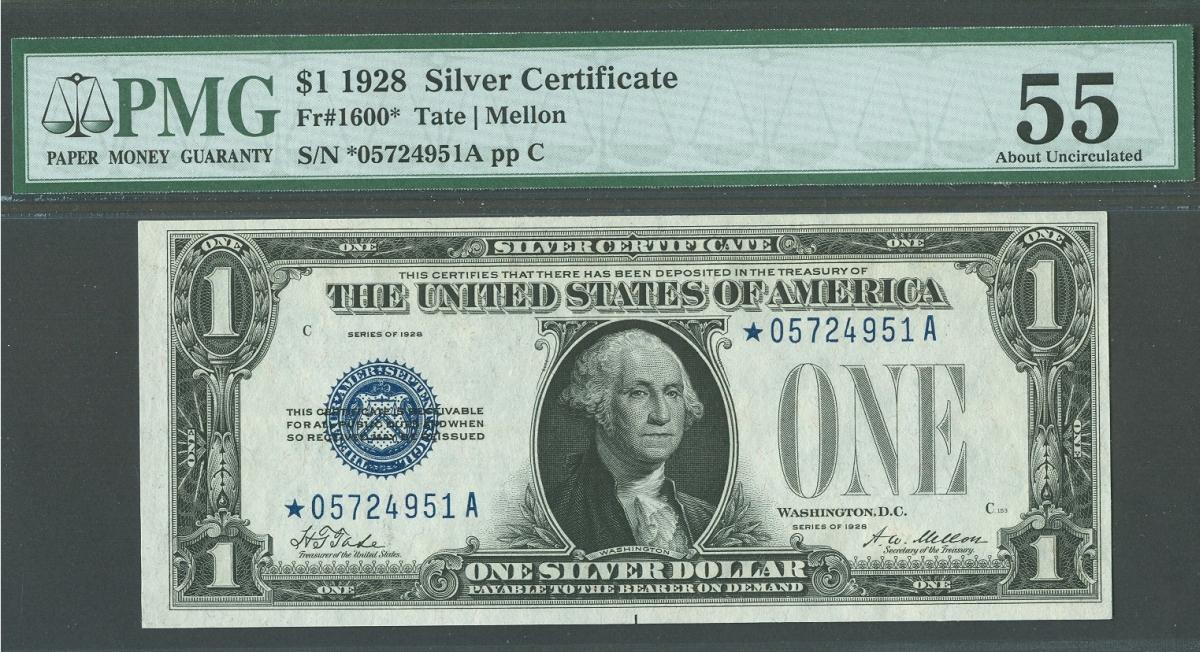 Fr1600 1928 1 Silver Certificate Star Note Au Pmg 55