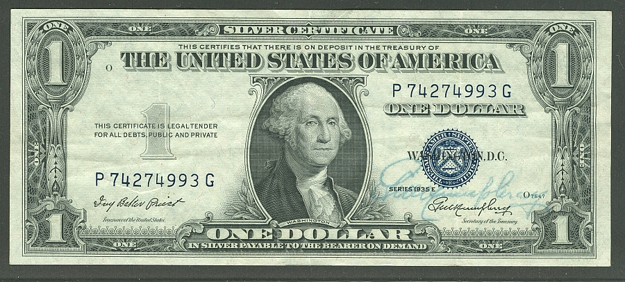 Fr.1614, 1935E $1 Silver Certificate, Humphrey Autographed XF