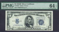Fr.1652 1934B $5 Silver Certificate, Ch./Gem, PMG64 Exceptional Paper Quality